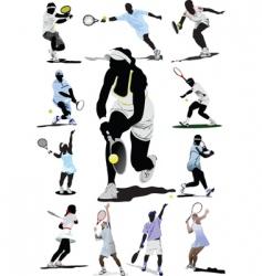 twelve tennis players vector image vector image