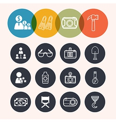 collection Circle Series icons BusinessTourismcame vector image