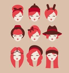 fashion girls icon set vector image