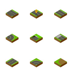 Isometric road set of driveway flat turning and vector
