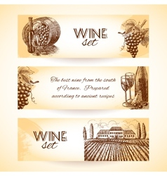 Wine banner set vector image vector image