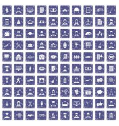 100 career icons set grunge sapphire vector