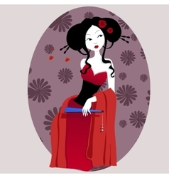 a beautiful geisha in red dress vector image
