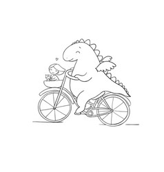 A funny cartoon dinosaur on a bicycle vector