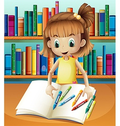 A girl with her empty notebook and crayons vector image