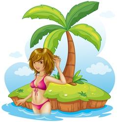 A lady wearing a pink bikini at the beach vector image vector image