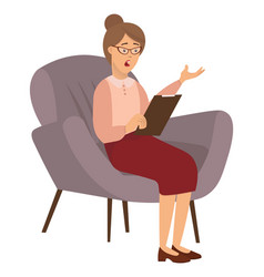 Adult woman is sitting on chair psychotherapist vector