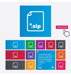Archive file icon Download ZIP button vector image