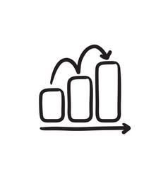 Bar chart upward sketch icon vector