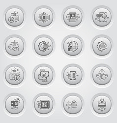 Bitcoin and blockchain crypto technology button vector