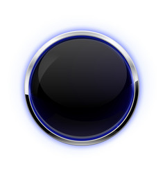 black button with chrome frame glass button vector image