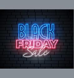 black friday neon sale banner design vector image