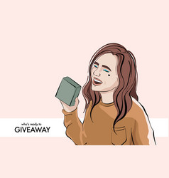 blogger making giveaway woman giving gift social vector image
