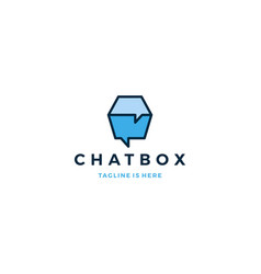 chat box cube social talk bubble logo icon vector image