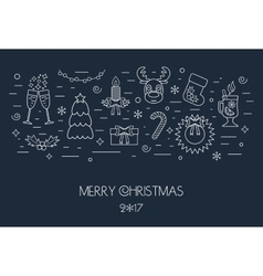 Christmas isolated white concept from linear icons vector image