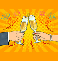 Clinking glasses with champagne pop art vector