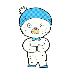 comic cartoon little polar bear vector image