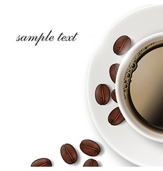 cup of coffee and coffee beans on a white vector image