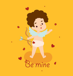 cute angel cupid with bow and arrow happy vector image
