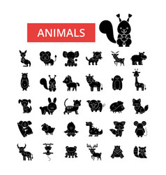 Cute animals thin line icons linear vector