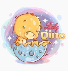 Cute badino get out from eggcolorful vector