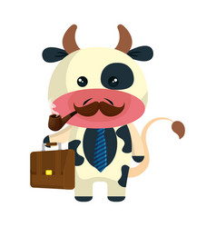 Cute little cow character vector