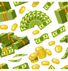 Dollars and cents money banknotes and golden cents vector