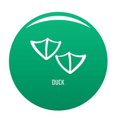 Duck step icon green vector