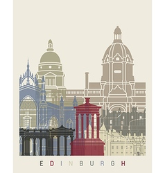 Edinburgh skyline poster vector image