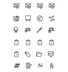 Education line icons 8 vector