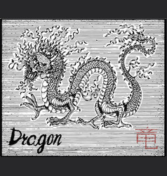 Engraved of zodiac symbol with dragon vector