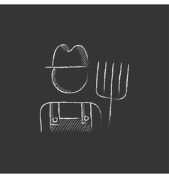 Farmer with pitchfork drawn in chalk icon vector