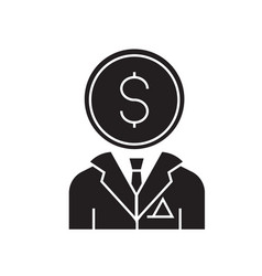 financial consultant black concept icon vector image
