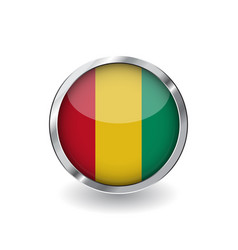 flag of guinea button with metal frame and shadow vector image