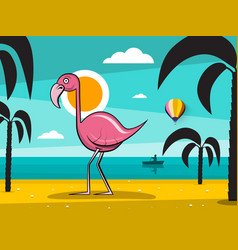 flamingo bird on tropical island with palm trees vector image