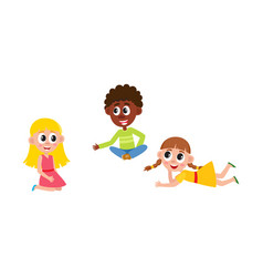 flat boy and girls sitting lying at floor vector image