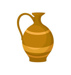 flat icon of brown ceramic jug with one vector image