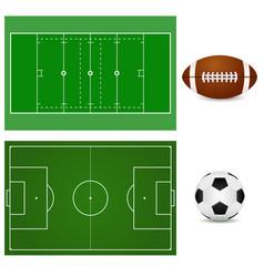 football field and soccer ball american football vector image vector image