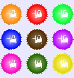 Forklift icon sign Big set of colorful diverse vector