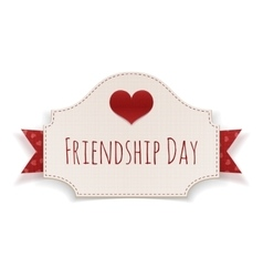 Friendship Day paper Banner with Text and Heart vector image