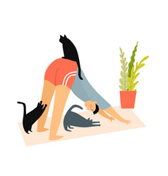 funny yoga exercise at home man doing dog pose vector image