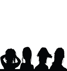 Girls hairstyles four silhouette vector