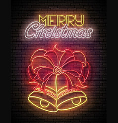 glow greeting card with two christmas bells bow vector image