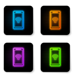 glowing neon smartphone with free wi-fi wireless vector image