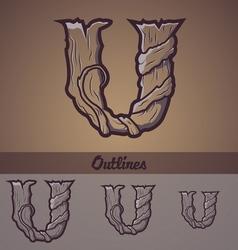 Halloween decorative alphabet - U letter vector image