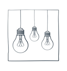 hand drawn ink sketch with three light bulbs vector image