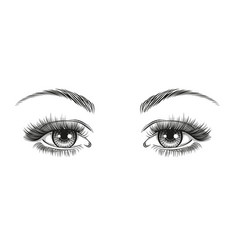 Hand-drawn realistic womans sexy luxurious eyes vector