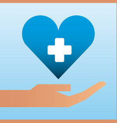 hand holding heart care family protection vector image