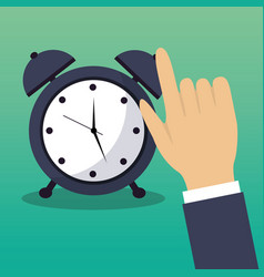 Hand touch alarm clock time concept vector