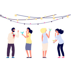 happy drinking people cocktail party women vector image